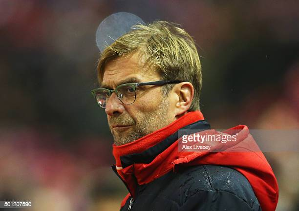 Jurgen Klopp manager of Liverpool looks on prior to the Barclays Premier League match between Liverpool and West Bromwich Albion at Anfield on...