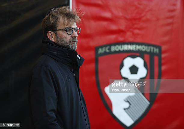 Jurgen Klopp manager of Liverpool looks on prior to the Premier League match between AFC Bournemouth and Liverpool at Vitality Stadium on December 4...