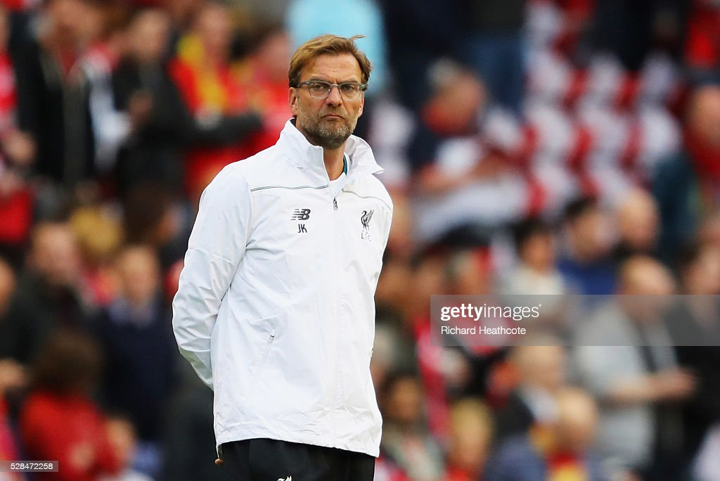 Jurgen Klopp manager of Liverpool looks on prior to the UEFA Europa League semi final second leg match between Liverpool and Villarreal CF at Anfield on May 5, 2016 in Liverpool, England.