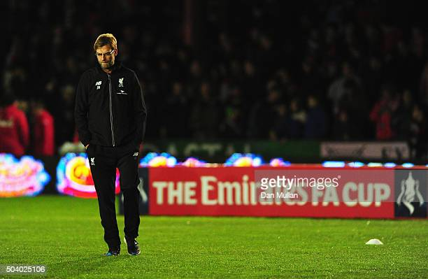 Jurgen Klopp manager of Liverpool looks thoughtful prior to the Emirates FA Cup third round match between Exeter City and Liverpool at St James Park...