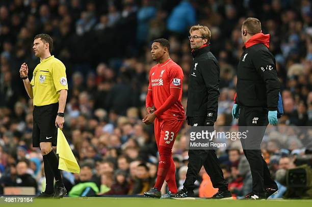 Jurgen Klopp manager of Liverpool prepares for bringing in Jordon Ibe of Liverpool for injured Philippe Coutinho during the Barclays Premier League...