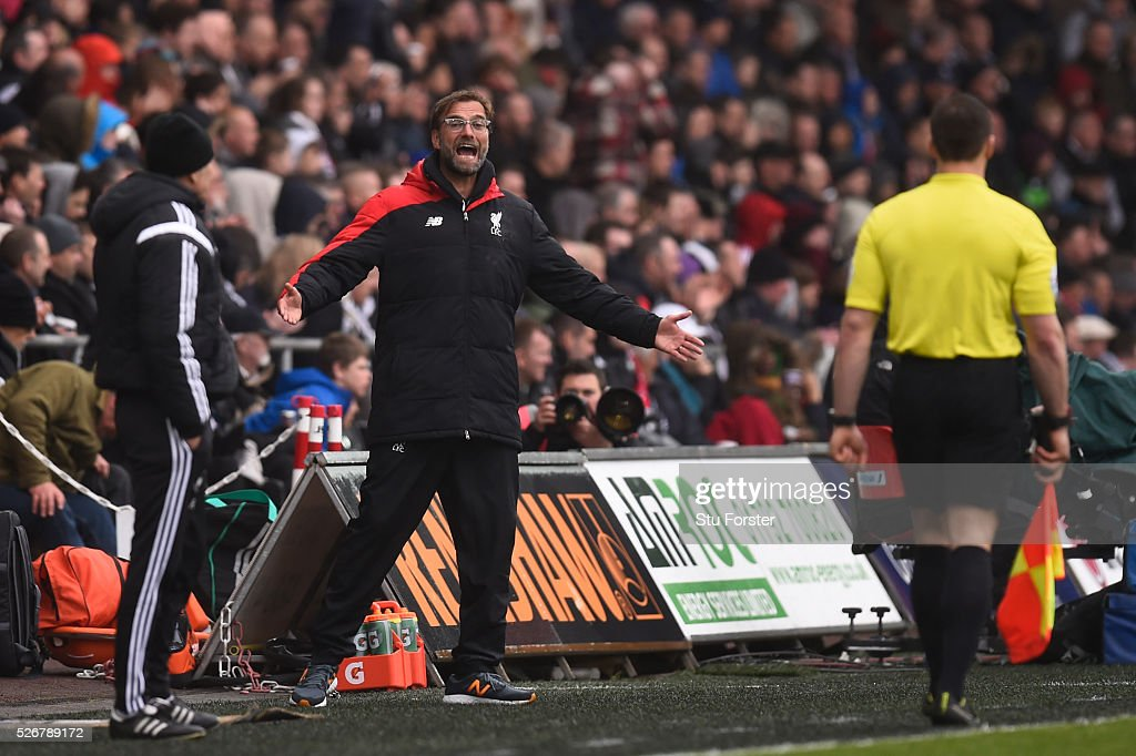 Jurgen Klopp, manager of Liverpool reacts during the Barclays Premier League match between Swansea City and Liverpool at The Liberty Stadium on May 1, 2016 in Swansea, Wales.