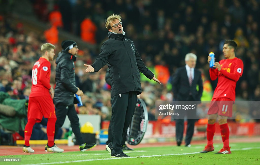 Jurgen Klopp manager of Liverpool reacts during the Premier League match between Liverpool and Stoke City at Anfield on December 27, 2016 in Liverpool, England.
