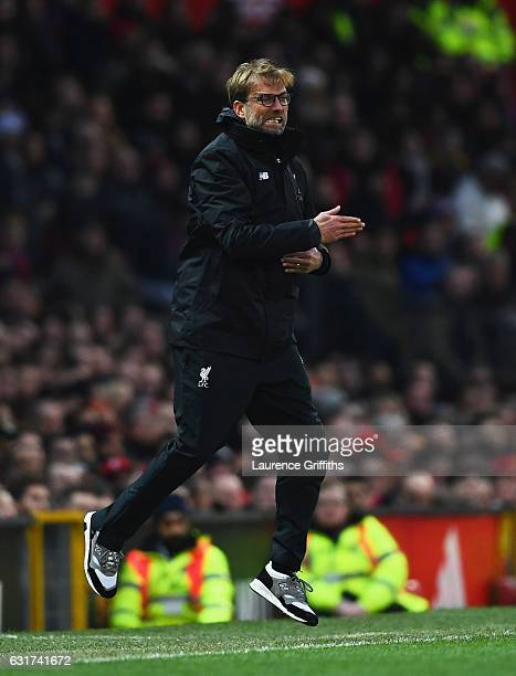 Jurgen Klopp manager of Liverpool reacts during the Premier League match between Manchester United and Liverpool at Old Trafford on January 15 2017...