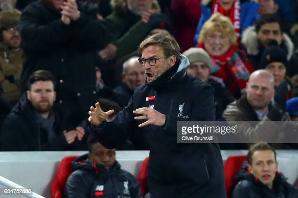 Jurgen Klopp Manager of Liverpool reacts during the Premier League match between Liverpool and Tottenham Hotspur at Anfield on February 11 2017 in...
