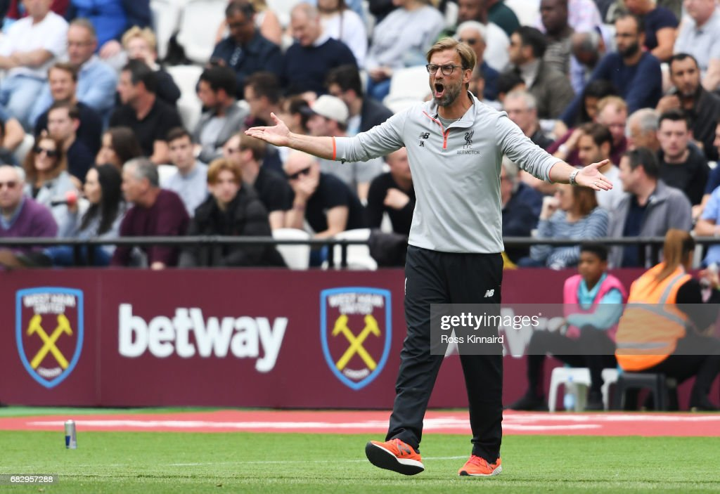 Jurgen Klopp, Manager of Liverpool reacts during the Premier League match between West Ham United and Liverpool at London Stadium on May 14, 2017 in Stratford, England.