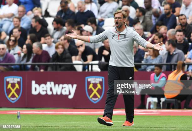 Jurgen Klopp Manager of Liverpool reacts during the Premier League match between West Ham United and Liverpool at London Stadium on May 14 2017 in...