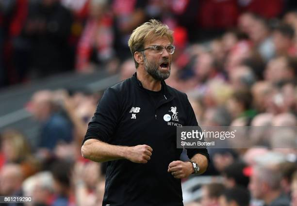Jurgen Klopp Manager of Liverpool reacts during the Premier League match between Liverpool and Manchester United at Anfield on October 14 2017 in...