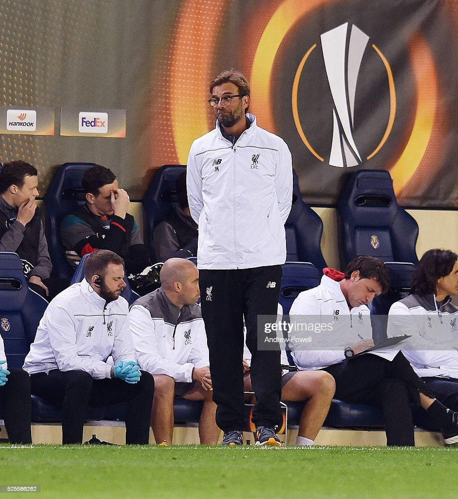 Jurgen Klopp manager of Liverpool reacts during the UEFA Europa League Semi Final: First Leg match between Villarreal CF and Liverpool on April 28, 2016 in Villarreal, Spain.