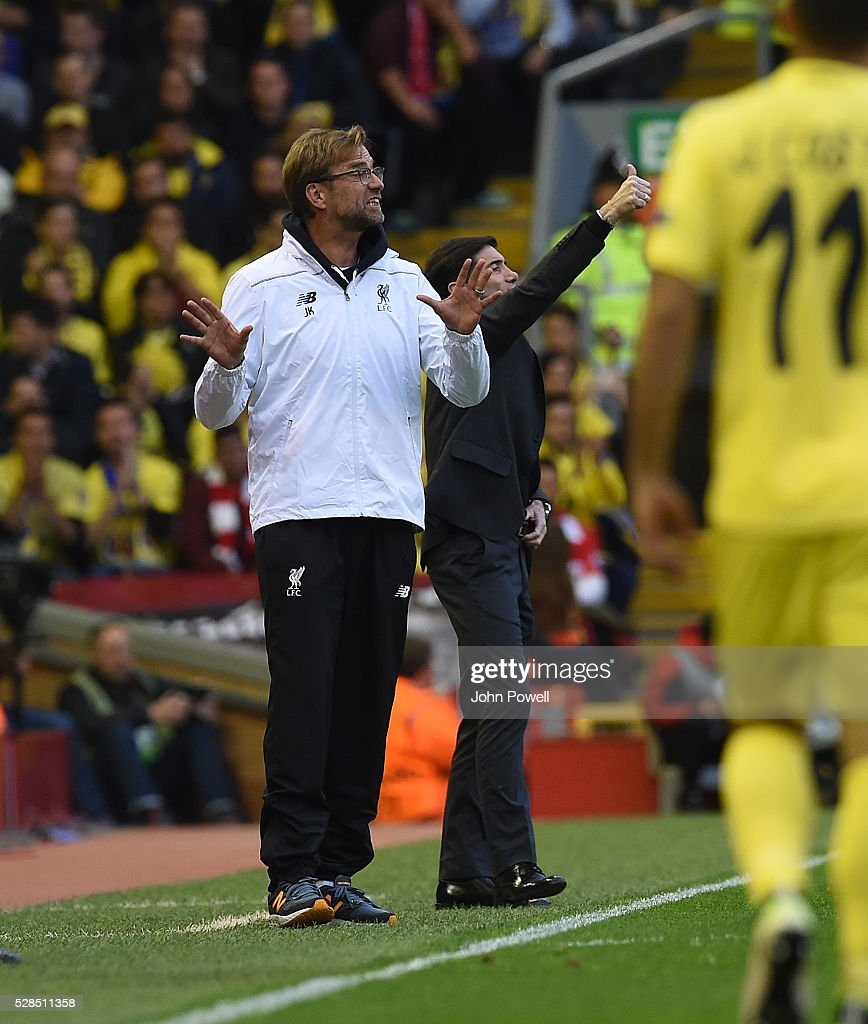 Jurgen Klopp manager of Liverpool reacts during the UEFA Europa League Semi Final: Second Leg match between Liverpool and Villarreal CF at Anfield on May 05, 2016 in Liverpool, England.