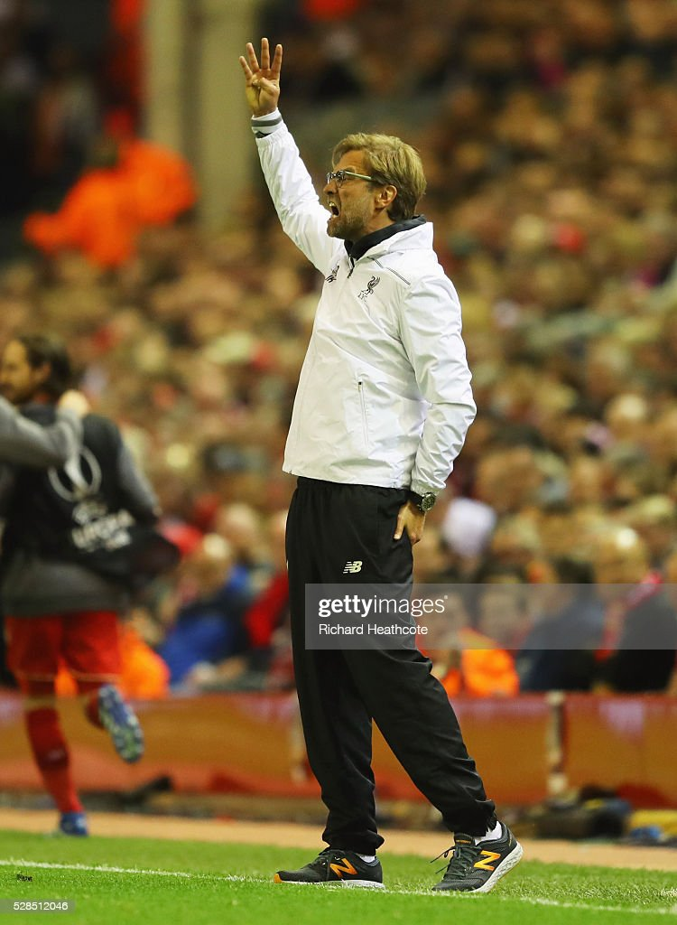 Jurgen Klopp manager of Liverpool shouts during the UEFA Europa League semi final second leg match between Liverpool and Villarreal CF at Anfield on May 5, 2016 in Liverpool, England.