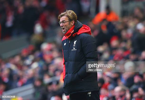 Jurgen Klopp manager of Liverpool shouts instructions during the Barclays Premier League match between Liverpool and Manchester United at Anfield on...