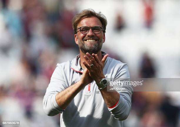 Jurgen Klopp Manager of Liverpool shows appreciation to the fans after the Premier League match between West Ham United and Liverpool at London...