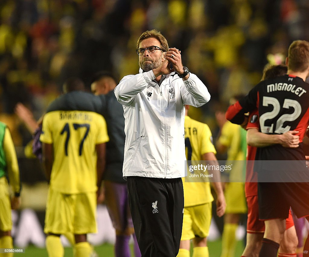 Jurgen Klopp manager of Liverpool shows his appreciation to the fans at the end of the UEFA Europa League Semi Final: First Leg match between Villarreal CF and Liverpool on April 28, 2016 in Villarreal, Spain.