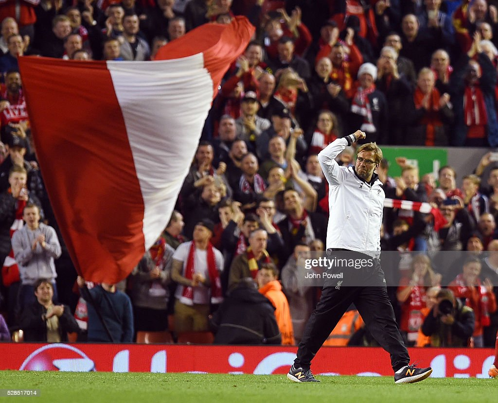 Jurgen Klopp manager of Liverpool shows his appreciation to the fans at the end of the UEFA Europa League Semi Final: Second Leg match between Liverpool and Villarreal CF at Anfield on May 05, 2016 in Liverpool, England.