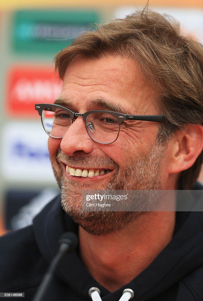 Jurgen Klopp, manager of Liverpool smiles during a press conference ahead of the UEFA Europa League Semi-Final Second Leg match against Villarreal at Melwood Training Ground on May 4, 2016 in Liverpool, England.