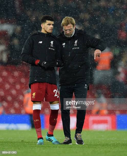 Jurgen Klopp manager of Liverpool talking with Dominic Solanke at the end of the Premier League match between Liverpool and Everton at Anfield on...