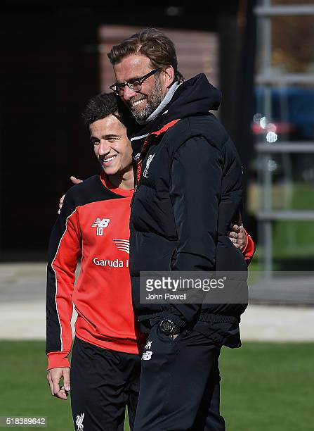 Jurgen Klopp manager of Liverpool talking with Philippe Coutinho of Liverpool during a training session at Melwood Training Ground on March 31 2016...