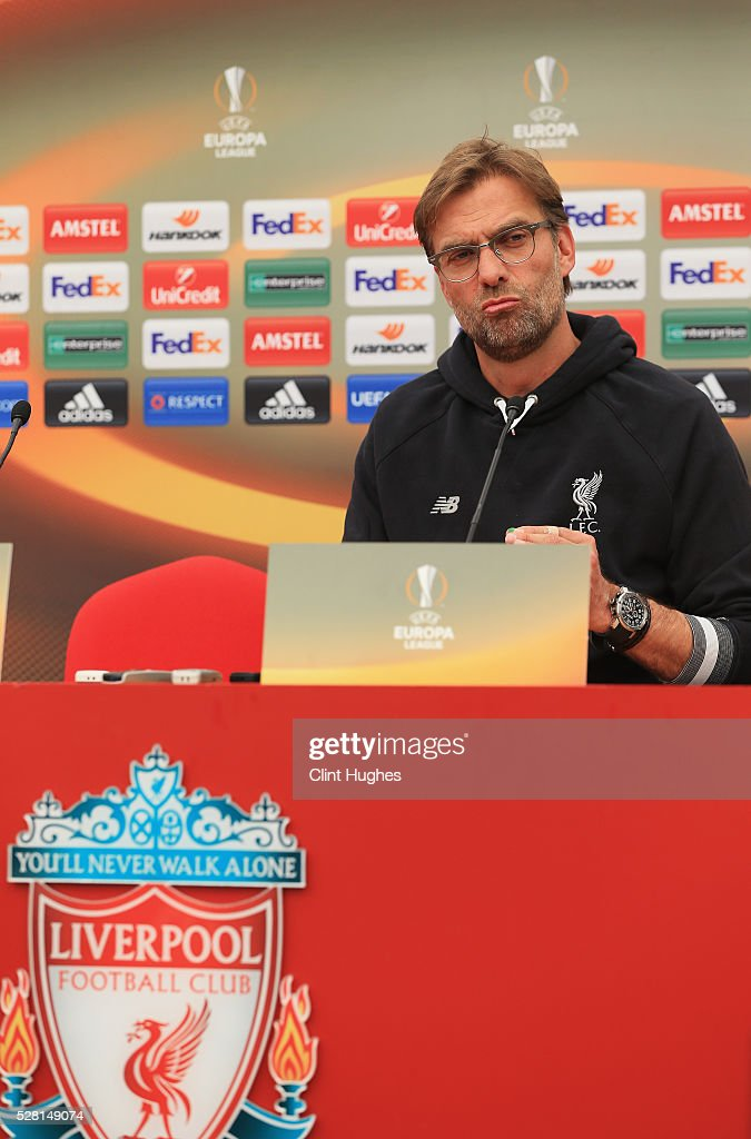 Jurgen Klopp, manager of Liverpool talks during a press conference ahead of the UEFA Europa League Semi-Final Second Leg match against Villarreal at Melwood Training Ground on May 4, 2016 in Liverpool, England.