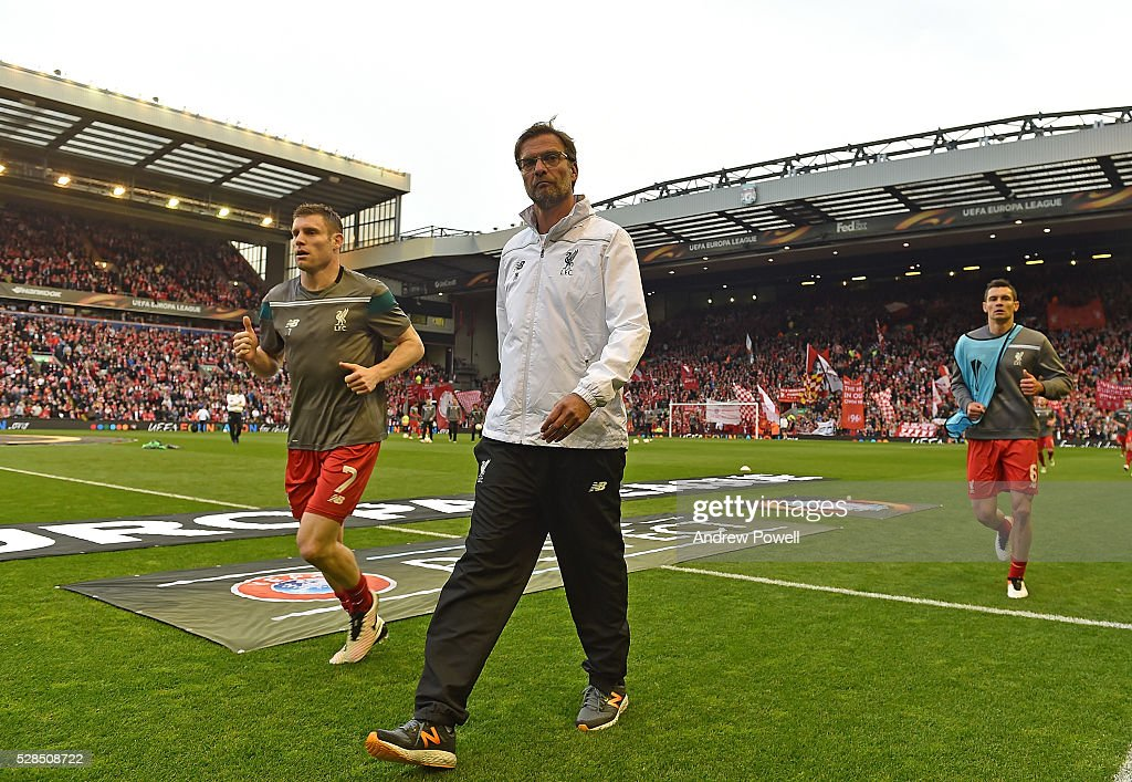 Jurgen Klopp manager of Liverpool walks off the pitch before the UEFA Europa League Semi Final: Second Leg match between Liverpool and Villarreal CF at Anfield on May 05, 2016 in Liverpool, England.