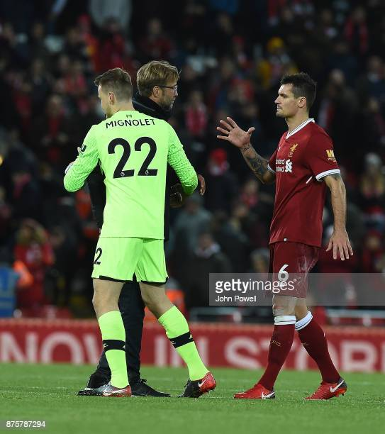 Jurgen Klopp Manager of Liverpool with Dejan Lovren of Southampton at the End of the Premier League match between Liverpool and Southampton at...