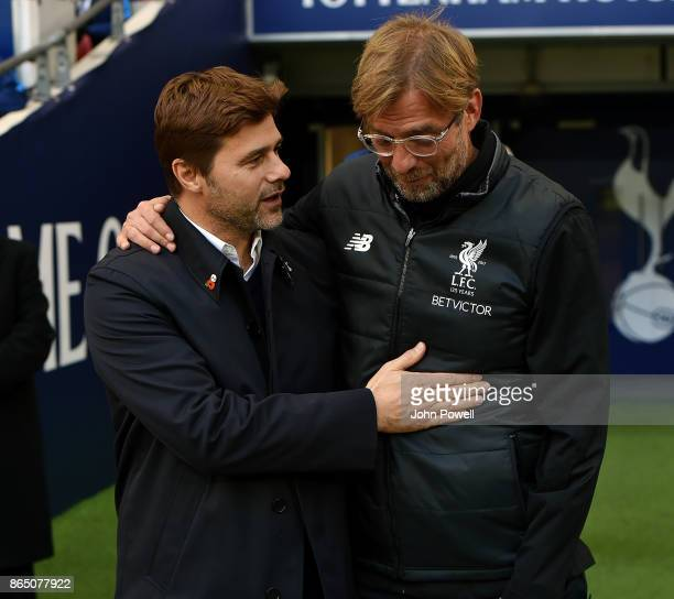 Jurgen Klopp manager of Liverpool with Mauricio Pochettino manager of Tottenham Hotspur at the start of the Premier League match between Tottenham...