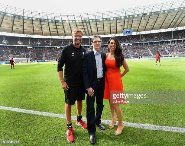 Jurgen Klopp manager of Liverpool with owners John W Henry and Linda Pizzuti Henry before the preseason friendly match between Hertha BSC and FC...