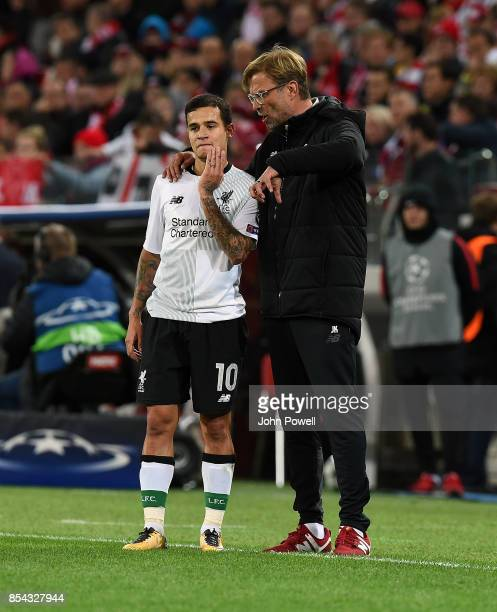 Jurgen Klopp manager of Liverpool with Philippe Coutinho during the UEFA Champions League group E match between Spartak Moskva and Liverpool FC at...