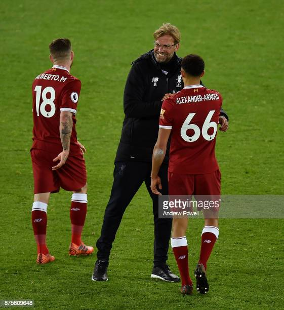 Jurgen Klopp manager of Liverpool with Trent AlexanderArnold at the end of the Premier League match between Liverpool and Southampton at Anfield on...