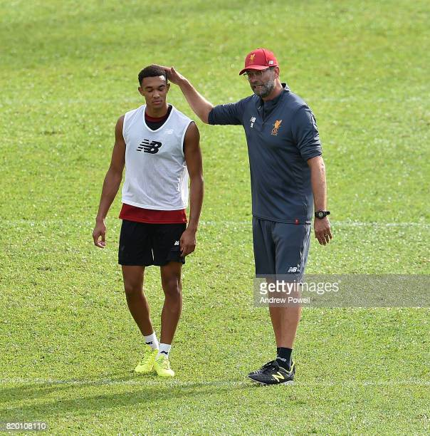 Jurgen Klopp manager of Liverpool with Trent AlexanderArnold during a training session on July 21 2017 in Hong Kong Hong Kong