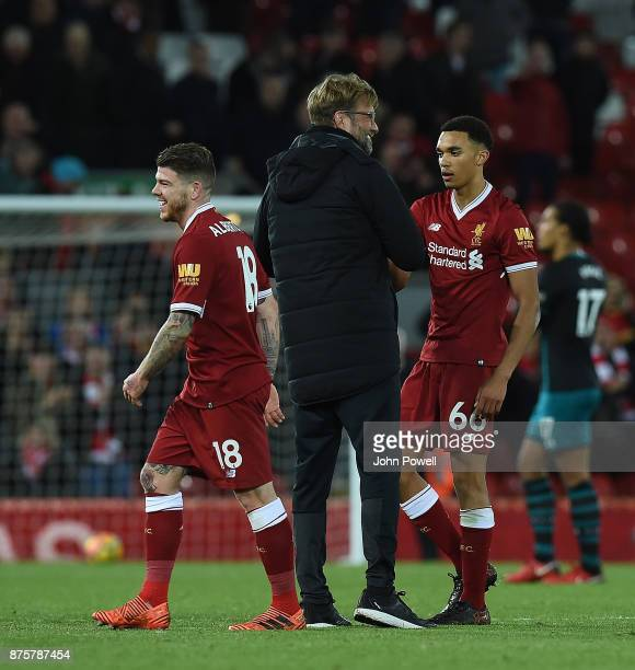 Jurgen Klopp Manager of Liverpool with Trent AlexanderArnold of Southampton at the End of the Premier League match between Liverpool and Southampton...