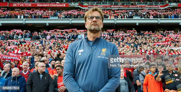 Jurgen Klopp of Liverpool during the anthem 'You'll Never Walk Alone' before the Premier League match between Liverpool and Middlesbrough at Anfield...
