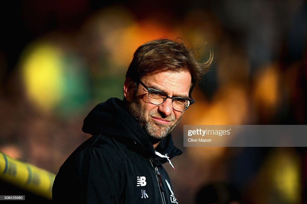 Jurgen Klopp of Liverpool looks on before the Barclays Premier League match between Norwich City and Liverpool at Carrow Road on January 23, 2016 in Norwich, England.