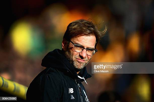 Jurgen Klopp of Liverpool looks on before the Barclays Premier League match between Norwich City and Liverpool at Carrow Road on January 23 2016 in...