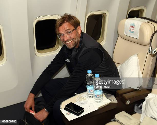 Jurgen Klopp of Liverpool on the plane to Australia at Melwood Training Ground on May 22 2017 in Liverpool England