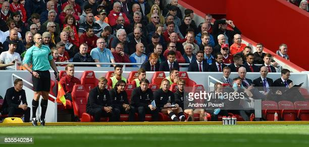 Jurgen Klopp of Liverpool with the bench during the Premier League match between Liverpool and Crystal Palace at Anfield on August 19 2017 in...