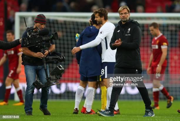 Jurgen Klopp the head coach / manager of Liverpool applauds as he walks off during the Premier League match between Tottenham Hotspur and Liverpool...
