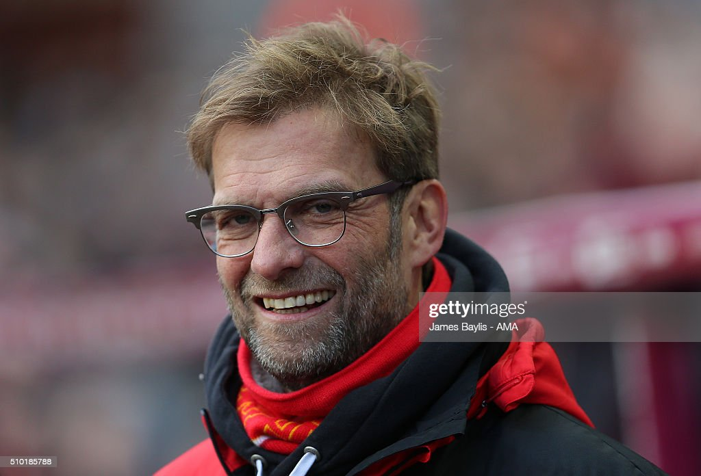 Jurgen Klopp the head coach / manager of Liverpool during the Barclays Premier League match between Aston Villa and Liverpool at Villa Park on February 14, 2016 in Birmingham, England.