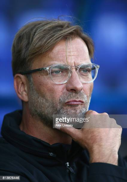 Jurgen Klopp the manager of Liverpool looks on during a preseason friendly match between Tranmere Rovers and Liverpool at Prenton Park on July 12...