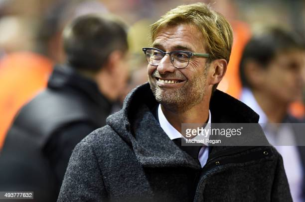 Jurgen Klopp the manager of Liverpool looks on during the UEFA Europa League Group B match between Liverpool FC and Rubin Kazan at Anfield on October...