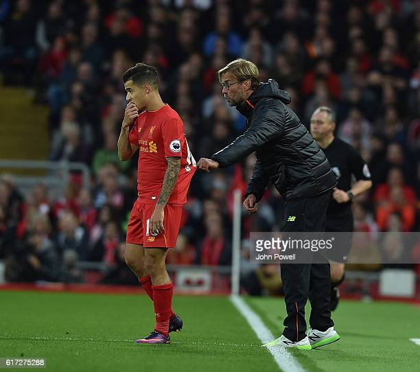 jurgen kloppPhilippe Coutinho of Liverpool during the Premier League match between Liverpool and West Bromwich Albion at Anfield on October 22 2016...