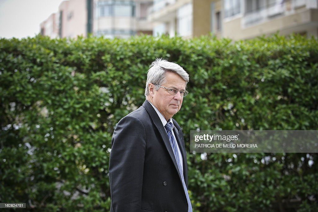 Jurgen Kroger, head of European Union (EU) delegation, arrives at the headquartes of the Economic and Social Council (CES) in Lisbon on February 28, 2013, for a meeting with the labour union representatives, as the so-called Troika of public creditors -- the European Union, the European Central Bank and the International Monetary Fund -- began its latest review of the country's finances. Portugal was granted a financial rescue package worth 78 billion euros ($103 billion) in May 2011, in exchange for a pledge to straighten out its finances via austerity measures and economic reforms.
