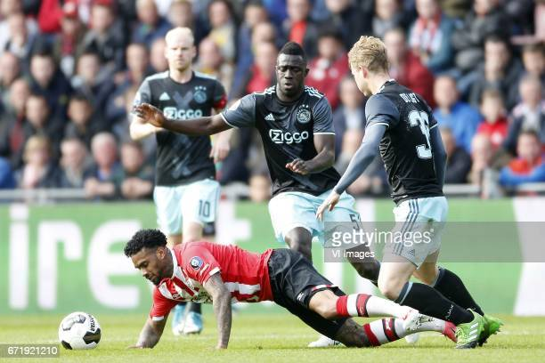 Jurgen Locadia of PSV Davinson Sanchez of Ajax Matthijs de Ligt of Ajaxduring the Dutch Eredivisie match between PSV Eindhoven and Ajax Amsterdam at...
