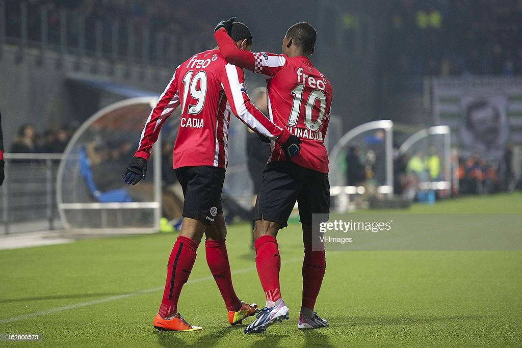 Jurgen Locadia of PSV, Georginio Wijnaldum of PSV during the Dutch Cup match between PEC Zwolle and PSV Eindhoven at the IJsseldelta Stadium on february 27, 2013 in Zwolle, The Netherlands