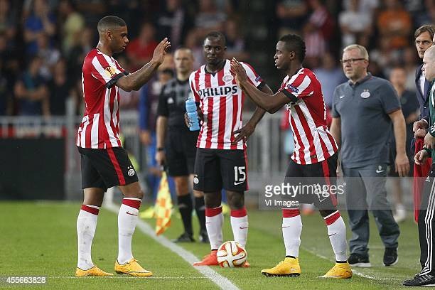 Jurgen Locadia of PSV Jetro Willems of PSV Florian Jozefzoon of PSV during the UEFA Europa League match between PSV and GD Estoril Praia on September...