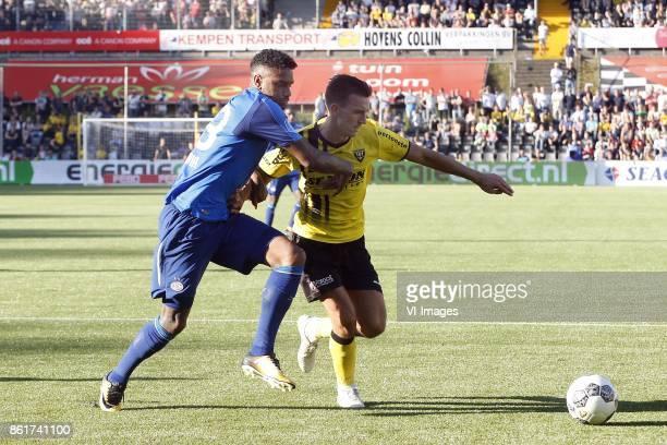Jurgen Locadia of PSV Moreno Rutten of VVVVenlo during the Dutch Eredivisie match between VVV Venlo and PSV Eindhoven at Seacon stadium De Koel on...