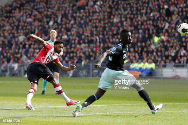 Jurgen Locadia of PSV referee Kevin Blom Davinson Sanchez of Ajaxduring the Dutch Eredivisie match between PSV Eindhoven and Ajax Amsterdam at the...