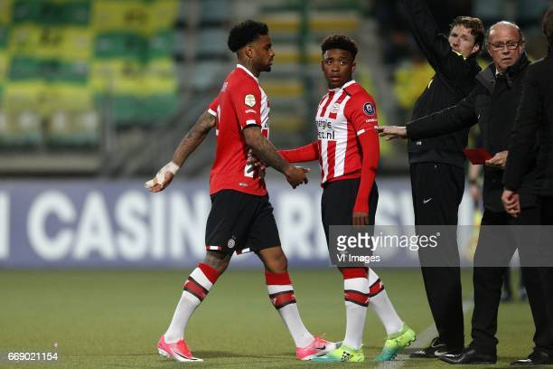 Jurgen Locadia of PSV Steven Bergwijn of PSV teammanager Mart van den Heuvel of PSVduring the Dutch Eredivisie match between ADO Den Haag and PSV...