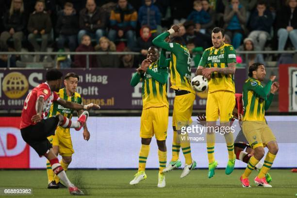Jurgen Locadia of PSV takes a free kickduring the Dutch Eredivisie match between ADO Den Haag and PSV Eindhoven at Kyocera stadium on April 15 2017...