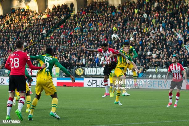 Jurgen Locadia of PSV Thomas Meissner of ADO Den Haag Tyronne Ebuehi of ADO Den Haagduring the Dutch Eredivisie match between ADO Den Haag and PSV...